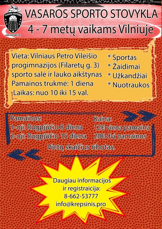 Kviečiame 4-7 metų vaikus dalyvauti vienos dienos trukmės stovyklose Vilniuje